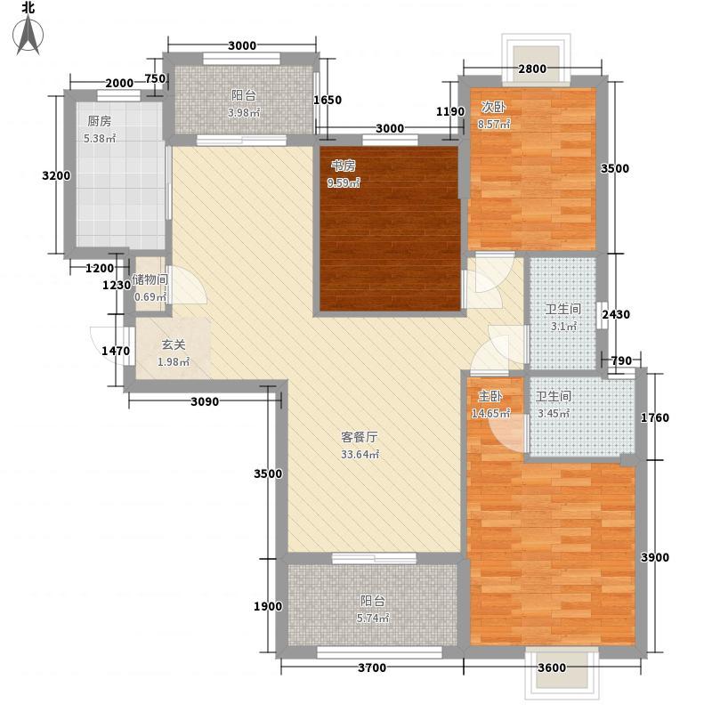 美联联邦生活区一期美联时光里3室1厅2卫1厨118.00㎡户型图