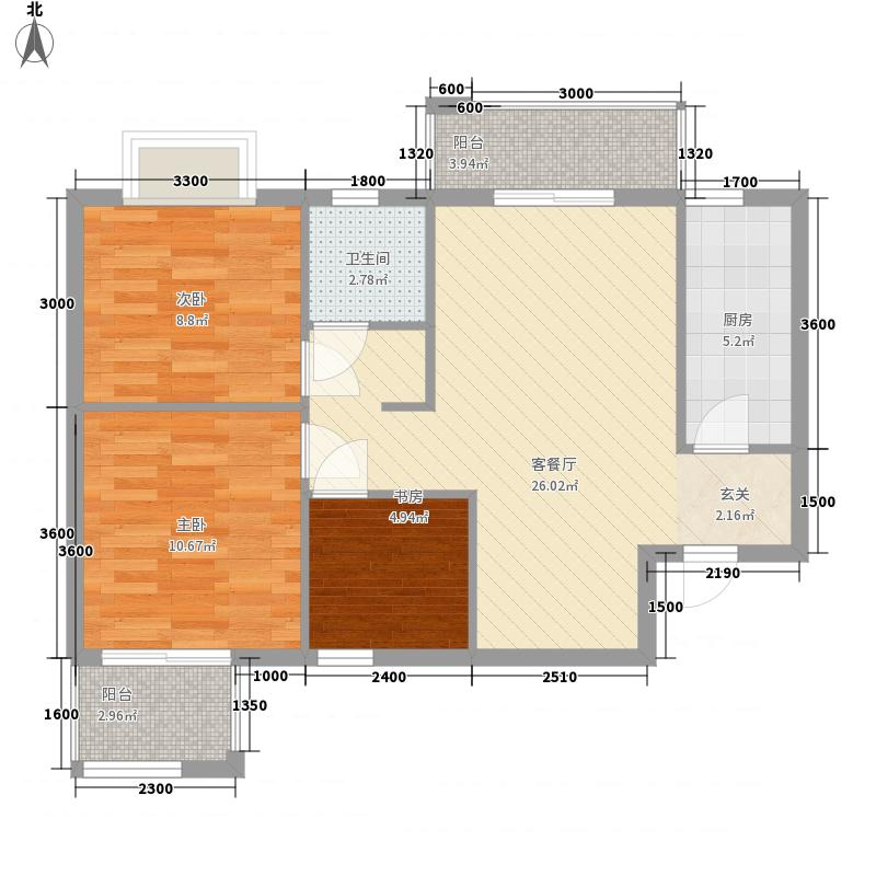 美联联邦生活区一期美联时光里3室1厅1卫1厨65.31㎡户型图