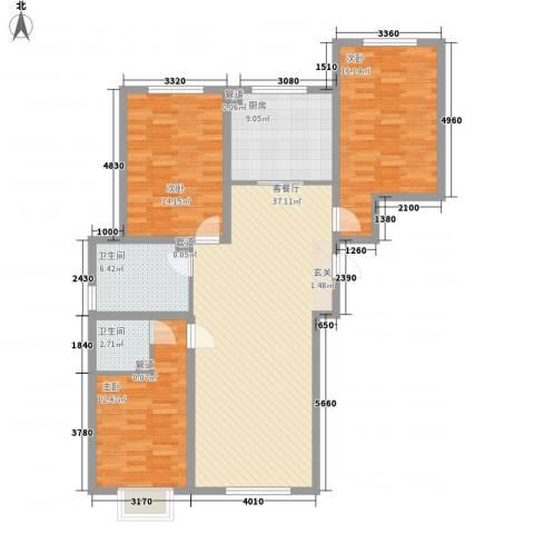 红旗嘉园3室1厅2卫1厨138.00㎡户型图