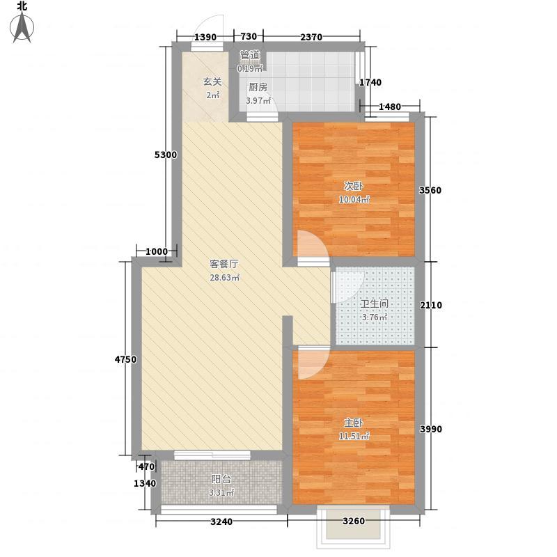 江南鸿郡88.81㎡21#A2户型2室2厅1卫1厨