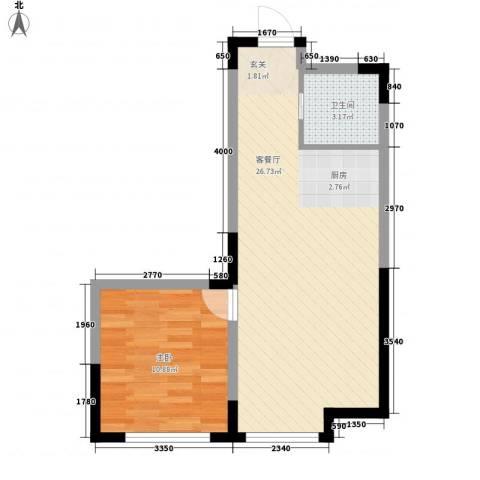高力德国村1室1厅1卫0厨58.00㎡户型图