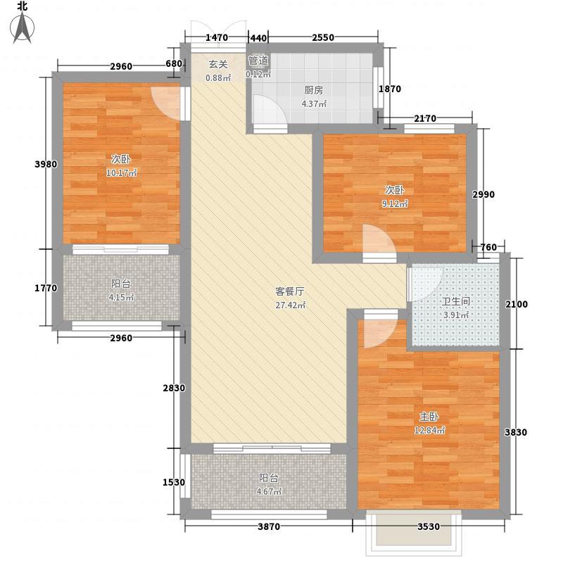 伍�院3室1厅1卫1厨112.00㎡户型图