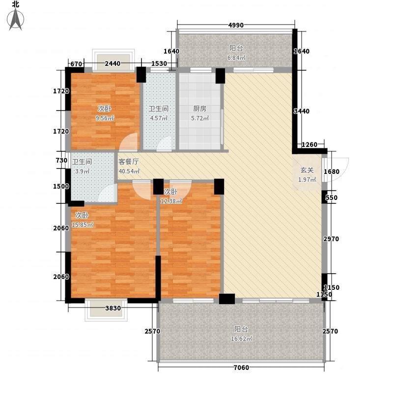 金超・君悦雅轩3室1厅2卫1厨124.00㎡户型图