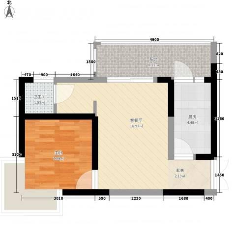 世纪康城1室1厅1卫1厨55.00㎡户型图