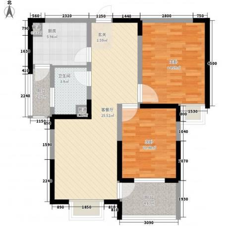 凤凰城2室1厅1卫1厨67.45㎡户型图