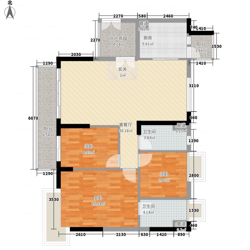 悦江上品苑3室1厅2卫1厨124.00㎡户型图