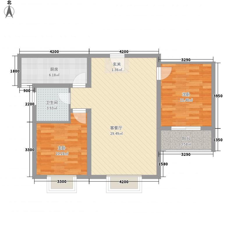 晋阳・峰�2室1厅1卫1厨64.84㎡户型图