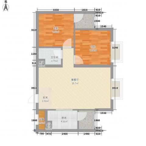 太原奥林匹克花园2室1厅1卫1厨82.00㎡户型图