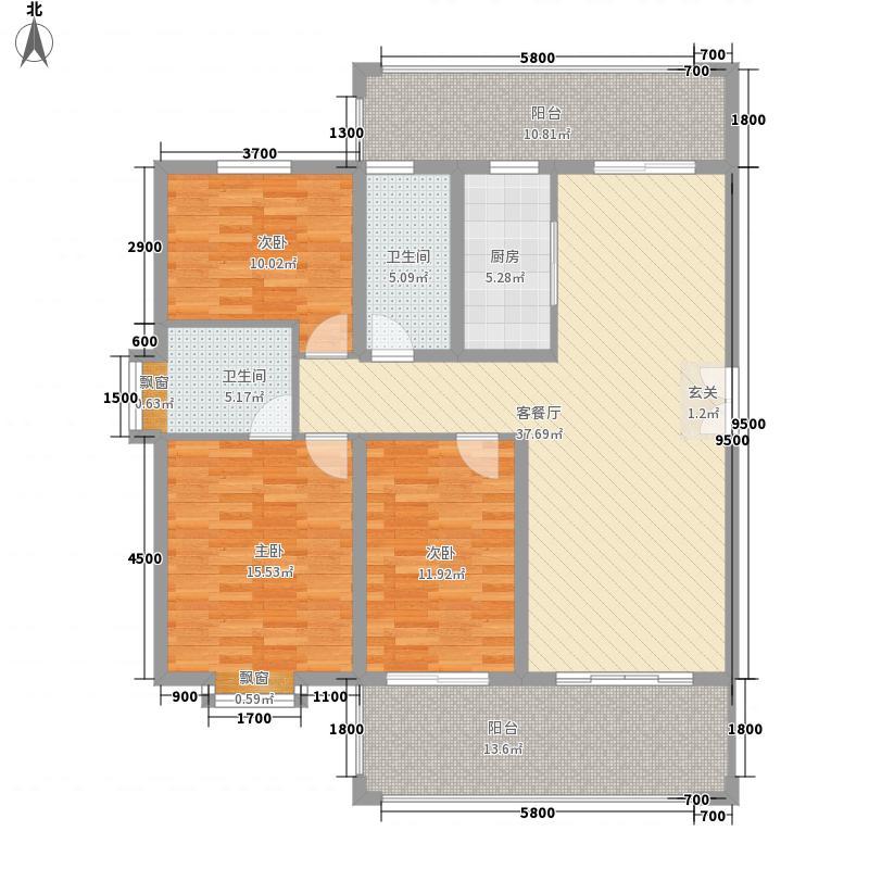 怡佳・天一城3室1厅2卫1厨154.00㎡户型图