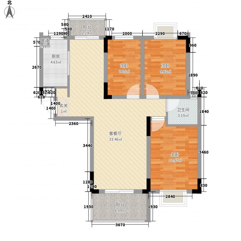 上海故事114.80㎡C户型3室2厅1卫1厨