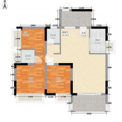 红棉雅苑3室1厅2卫1厨112.00㎡户型图