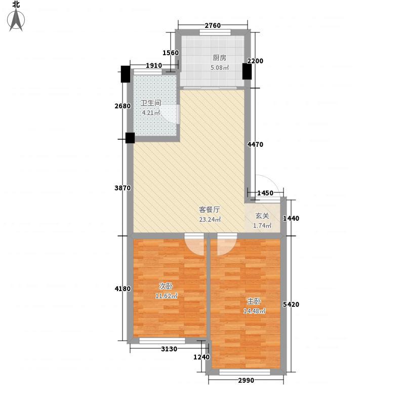 芙蓉怡景苑户型图 2室2厅1卫 76.38㎡