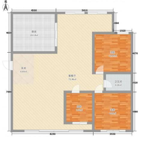 山海一家二期3室1厅1卫1厨179.00㎡户型图