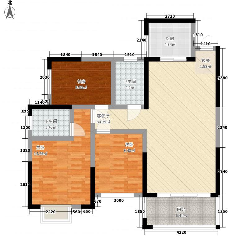 九华新城111.40㎡标准层B1户型3室2厅2卫1厨
