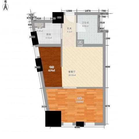 芝麻街1室1厅1卫1厨64.00㎡户型图