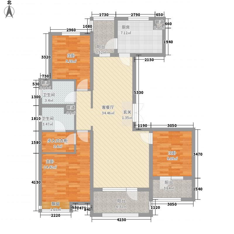 海尔・云世界143.00㎡1地块2、4、6#E-1户型3室2厅2卫1厨