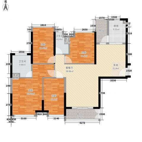 海伦湾4室1厅2卫1厨133.51㎡户型图