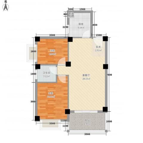 未来海岸系蓝水郡2室1厅1卫1厨63.12㎡户型图