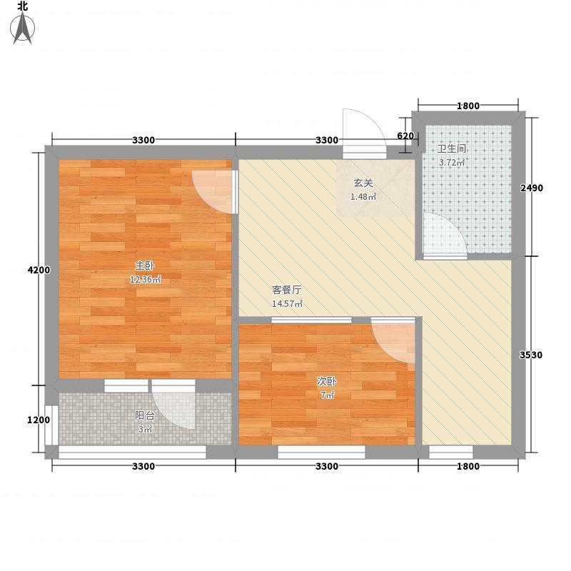 观山悦2室1厅1卫0厨45.00㎡户型图