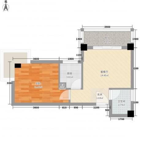 未来海岸系蓝水郡1室1厅1卫1厨52.00㎡户型图