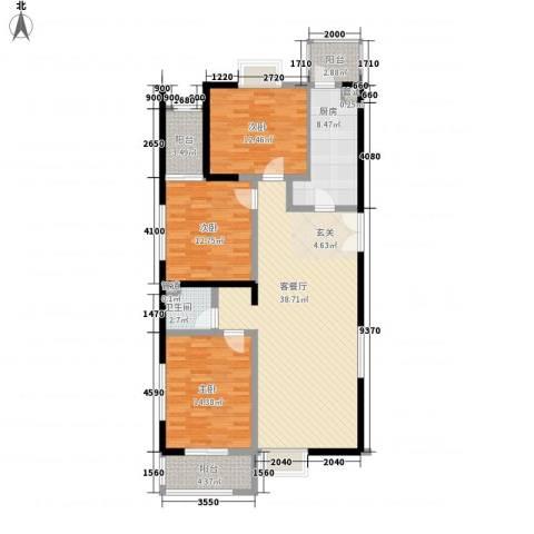 太原奥林匹克花园3室1厅1卫1厨144.00㎡户型图