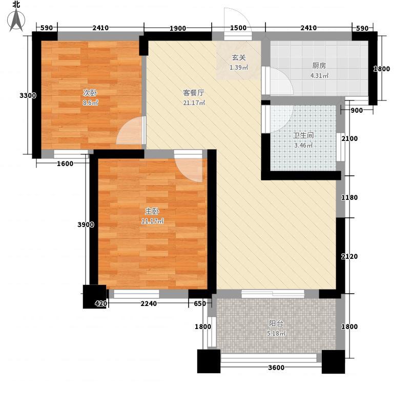 百步亭现代城四区82.00㎡7号楼2A户型2室2厅1卫1厨