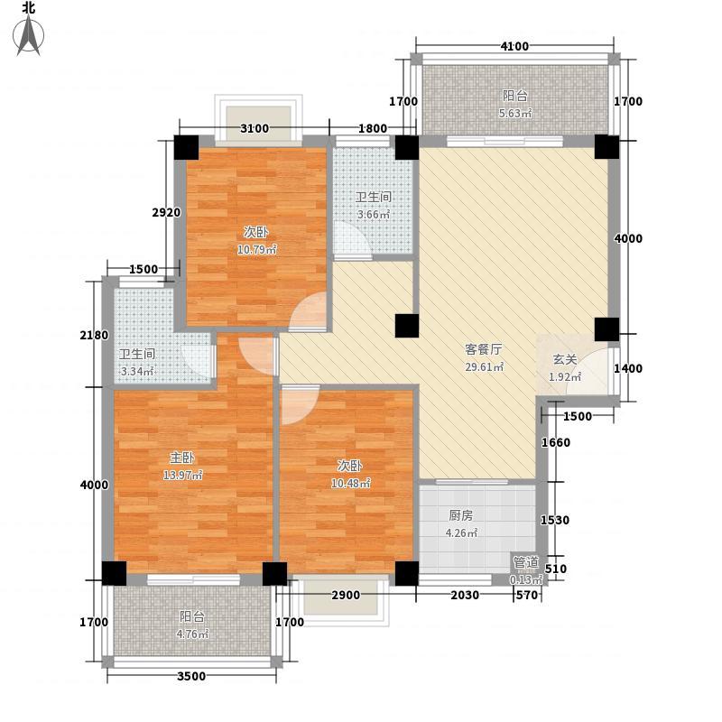 未来海岸系蓝水郡111.45㎡D户型3室2厅2卫1厨