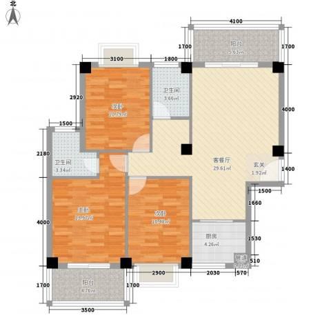 未来海岸系蓝水郡3室1厅2卫1厨111.00㎡户型图