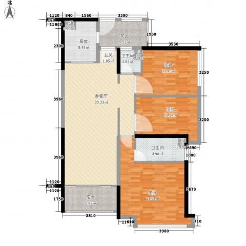 海伦湾3室1厅2卫1厨115.39㎡户型图