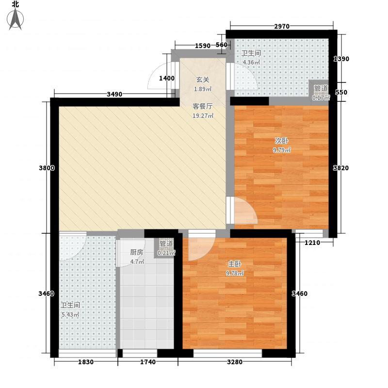金业缇香山2室1厅2卫1厨78.00㎡户型图