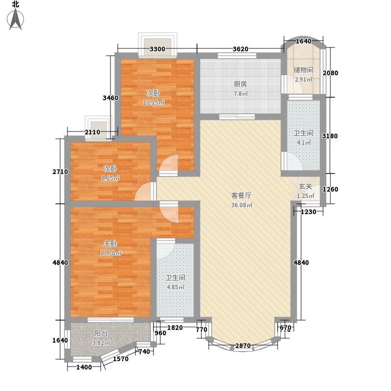黄金海岸128.10㎡户型3室2厅2卫1厨