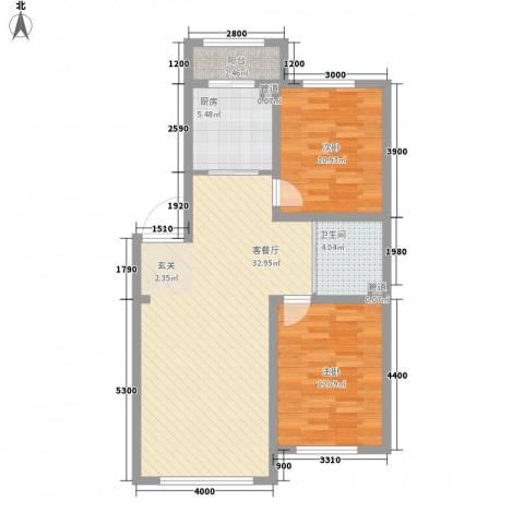 兆丰嘉座2室1厅1卫1厨97.00㎡户型图