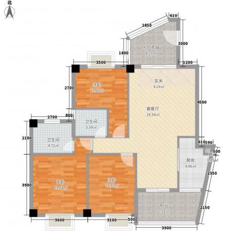 未来海岸系蓝水郡3室1厅2卫1厨124.00㎡户型图