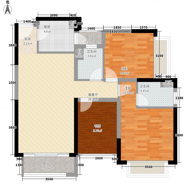 君华硅谷3室1厅2卫1厨77.20㎡户型图