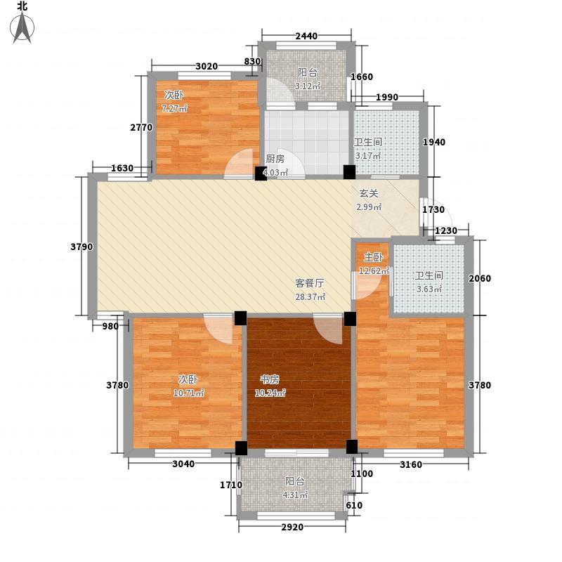 阳光美地4室1厅2卫1厨123.00㎡户型图