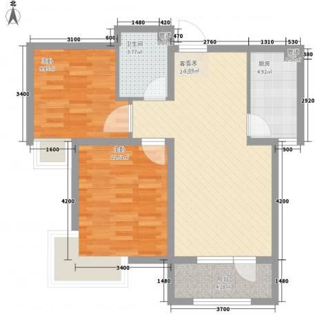 北城之星2室1厅1卫1厨86.00㎡户型图