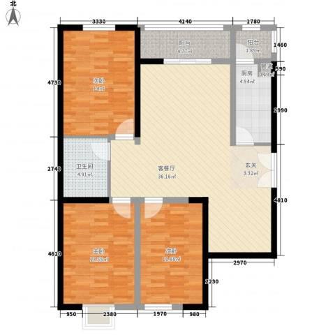 太原奥林匹克花园3室1厅1卫1厨132.00㎡户型图