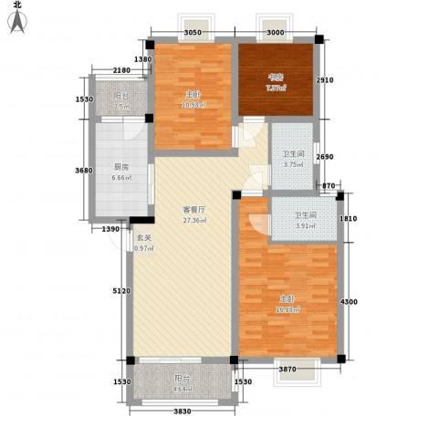 东方丽景3室1厅2卫1厨104.00㎡户型图