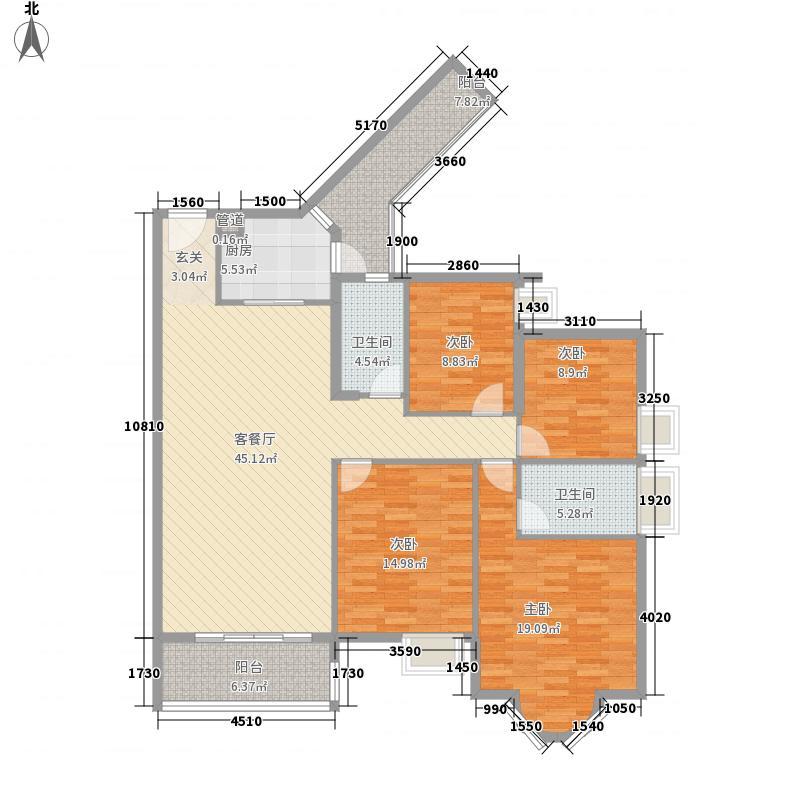 宏益江山丽园4室1厅2卫1厨161.00㎡户型图