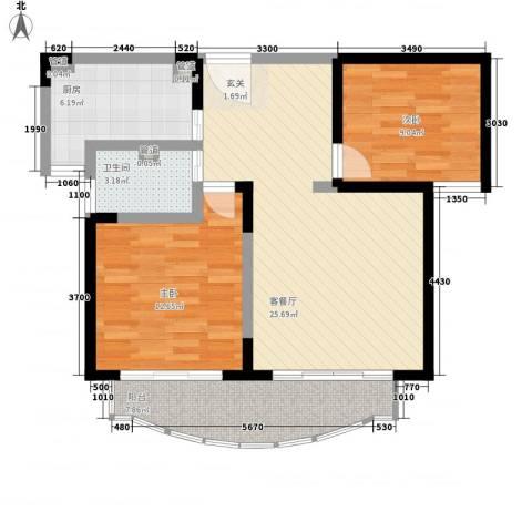 桃园大厦2室1厅1卫1厨64.79㎡户型图