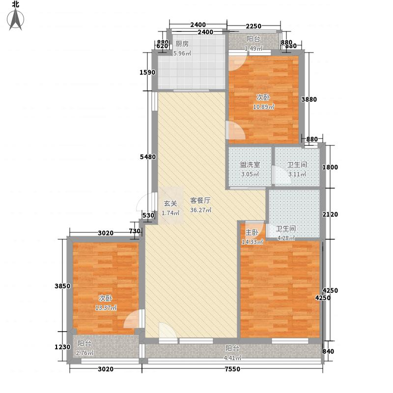 德润绿城3室1厅2卫1厨137.00㎡户型图