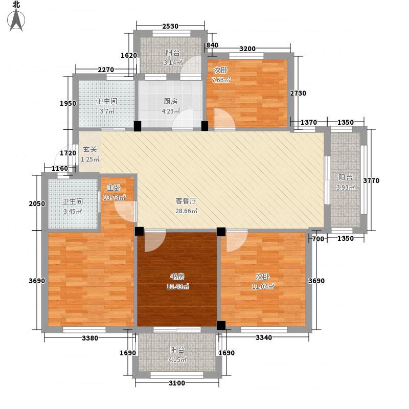 阳光美地4室1厅2卫1厨133.00㎡户型图
