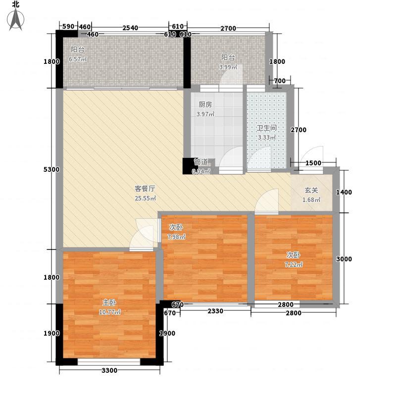 华腾舒云居3室1厅1卫1厨99.00㎡户型图