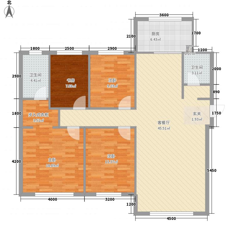 中海・�鼎大观142.00㎡A3-1户型4室2厅2卫1厨