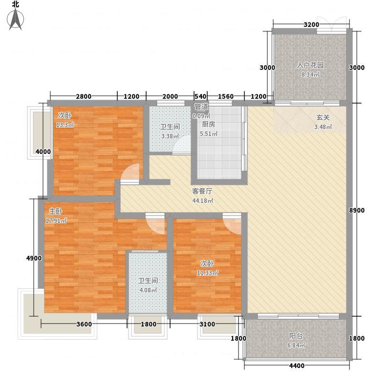 金水湾及第苑3室1厅2卫1厨163.00㎡户型图