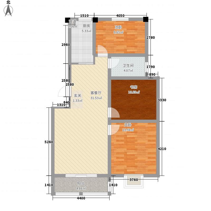 翠湖天地3室1厅1卫1厨115.00㎡户型图