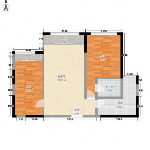 中南世纪花城2室1厅1卫1厨80.80㎡户型图