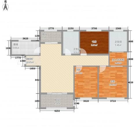 融科瀚棠(河东)3室1厅2卫1厨135.00㎡户型图