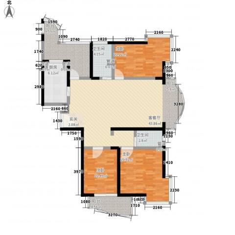 桃园大厦3室1厅2卫1厨158.00㎡户型图