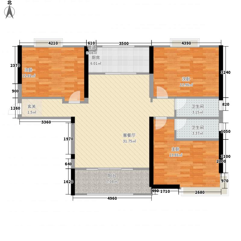 富田兴和湾3室1厅2卫1厨125.00㎡户型图